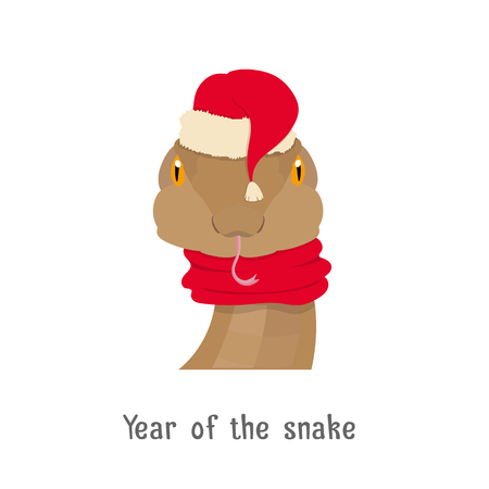 snake year: Vector snake head in new year, christmas red hat and scarf isolated . Chinese zodiac symbol isolated. Web ,poster, banner, advertising, design element. Flat Style, cartoon image Illustration