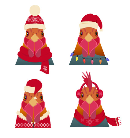 head scarf: Vector Rooster Head set in cartoon flat. Chinese new year symbols in winter red new year, christmas clothing: Red hat scarf hood headphones.Object for poster banner print design. Advertisement element Illustration