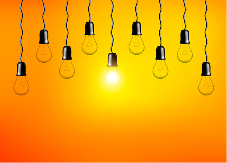 Vector Light bulbs on orange yellow background. Realistic style lamps. Business idea concept. Object for infographics, presentations. Web design, poster, banner print decoration element.