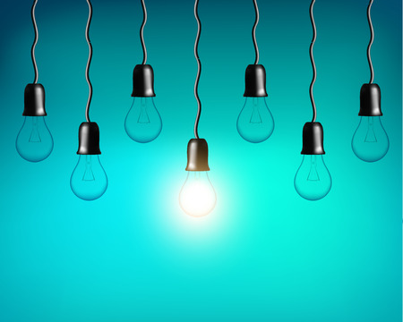 Vector Light bulb on blue green background. Realistic style. Business idea concept. One lamp shines. Object for infographics, presentations. Web design, poster, banner print decoration element.