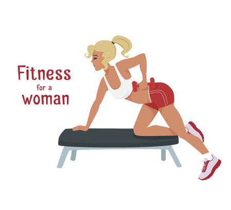 sports girl: Vector girl in red makes exercises with dumbbells on bench. Flat, cartoon style woman does sports, working out her shoulder muscles. fitness, active lifestyle illustration. Print banner design element Illustration