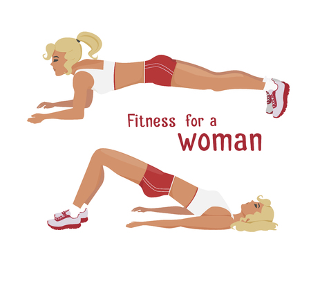 her: Vector girl in red makes plank, buttocks lift exercise . Flat, cartoon style woman does sports, working out her abdominal muscles. fitness, active lifestyle illustration. Print banner design element