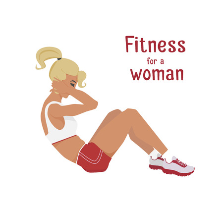 abdominal muscle exercises: Vector girl in red does abdominal crunches . Flat, cartoon style woman does sit-ups, working out her abdominal muscles. fitness, active lifestyle illustration. Print banner poster design element