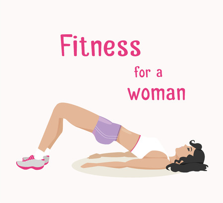buttocks: Vector girl does buttocks lift exercises . Flat, cartoon style woman working out her buttocks muscle. fitness, active lifestyle illustration. Print banner poster design element