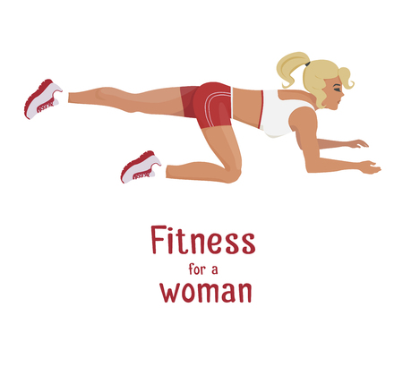 buttocks: Vector girl in red does buttocks lift exercises . Flat, cartoon style woman working out her buttocks muscle. fitness, active lifestyle illustration. Print banner poster design element