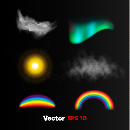 Vector Realistiic Polar northern light sun light flash, shaped rainbow, misty fog, storm cloud .3d Weather nature phenomenon objects set on black background. Web design Banner, print poster element