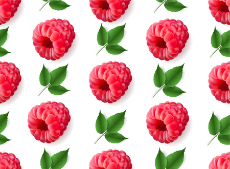Vector realistic raspberry with mint leaves seamless pattern isolated. 3d fruit ornament for poster,banner, print, advertisement design. Illustration