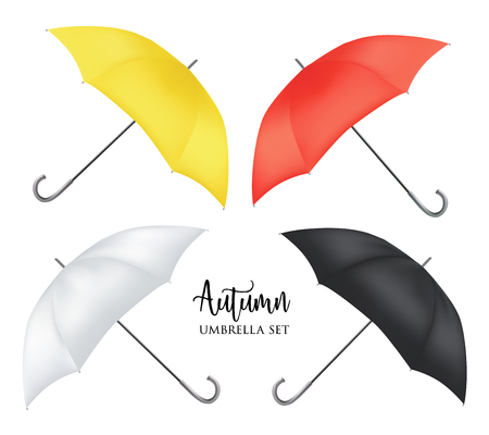 Vector parasol rain umbrella, Sunshade set. Red, yellow white black colored .Blank Classic Opened Round slanted Mock up isolated .Side View.illustration object for advertising, poster, banner design.