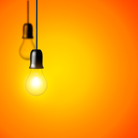 Vector Light bulb on orange yellow background. Realistic style. Business idea concept. One lamp shines. Object for infographics, presentations. Web design, poster, banner print decoration element. Illustration