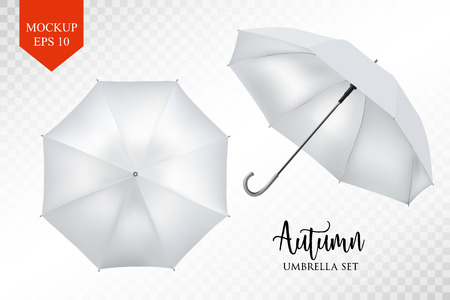 Vector realistic parasol rain umbrella, Sunshade set. white colored, isolated .Blank Classic Round slanted Mock up isolated .Side, top View.illustration object for advertising, poster, banner design.