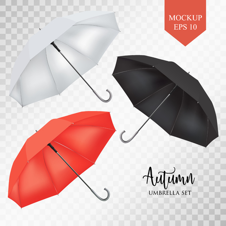 slanted: Vector realistic parasol rain umbrella, Sunshade set. Red, white black colored .Blank Classic Round slanted Mock up on transparent background .Side View. object for advertising, poster, banner design.