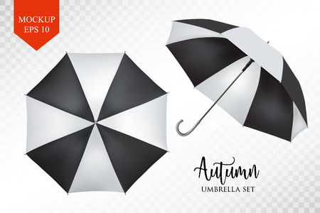 slanted: Vector realistic parasol rain umbrella, Sunshade set. black striped , isolated .Blank Classic Round slanted Mock up isolated .Side, top View.illustration object for advertising, poster, banner design. Illustration