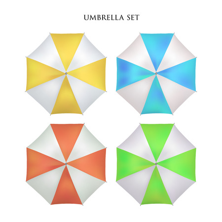 sunshade: Vector realistic parasol rain umbrella, Sunshade set. colored bright, striped .Blank Classic Opened Round Mock up isolated .top View. illustration object for advertising, poster, banner design.