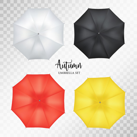sunshade: Vector realistic parasol rain umbrella, Sunshade set on transparent background .Blank Classic Opened Round Mock up isolated .top View. illustration object for advertising, poster, banner design.