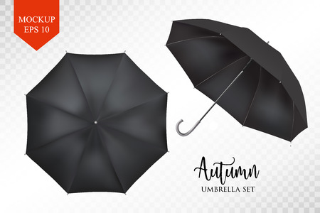sunshade: Vector realistic parasol rain umbrella, Sunshade set. black colored, isolated .Blank Classic Round slanted Mock up isolated .Side, top View.illustration object for advertising, poster, banner design. Illustration
