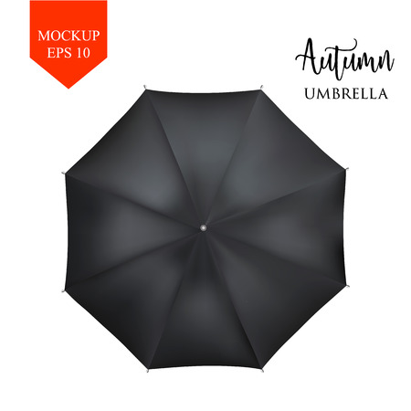 slanted: Vector realistic parasol rain umbrella, Sunshade set. white black, isolated .Blank Classic Round slanted Mock up isolated .top View .object for advertising, poster, banner design. Illustration