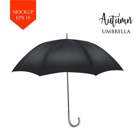 Vector realistic parasol rain umbrella, Sunshade set. black colored, isolated .Blank Classic Round Mock up isolated .Side View, slanted .object for advertising, poster, banner design. Illustration