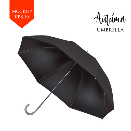 slanted: Vector realistic parasol rain umbrella, Sunshade set. black colored, isolated .Blank Classic Round slanted Mock up isolated .Side View, slanted .object for advertising, poster, banner design.