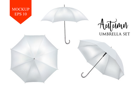 sunshade: Vector realistic parasol rain umbrella, Sunshade set. white colored, isolated .Blank Classic Round slanted Mock up isolated .Side, top View.illustration object for advertising, poster, banner design.
