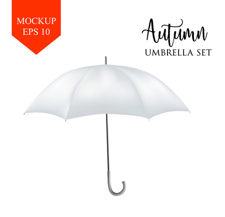 sunshade: Vector realistic parasol rain umbrella, Sunshade set. white colored, isolated .Blank Classic Round Mock up isolated .Side View, slanted .object for advertising, poster, banner design.