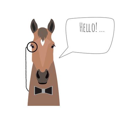 ベクトル ヒップスター フラット馬黒のネクタイとモノクルを分離した挨拶を身に着けています。広告、web ページのデザイン、ポスター、バナー、