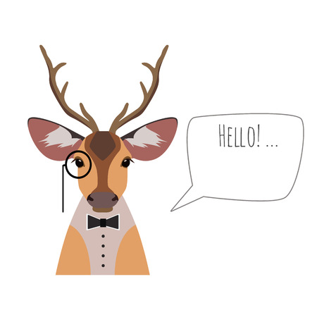 horned: Vector hipster horned deer in suit and bowtie with monocle saying hello isolated. Object for advertisement, web page design, poster, banner, print element. Flat, cartoon style illustration