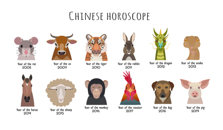 year of snake: Vector Heads animals of the Chinese horoscope on a white background isolated. cartoon style flat. Mouse, cow, horse, tiger, dragon, sheep, rooster, monkey, dog. Poster banner print design element