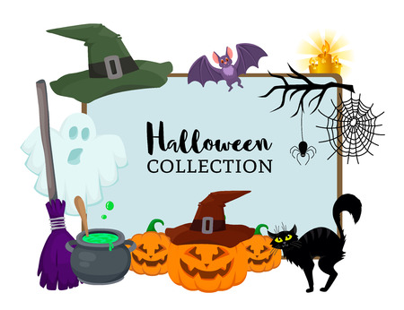 deisgn: Vector set of Halloween hand drawn flat cartoon objects. Magic hat witch broom, black cat, bat, ghost, pumpkin, small spider near web,candle, branch, bowler. Poster banner advertisement design element