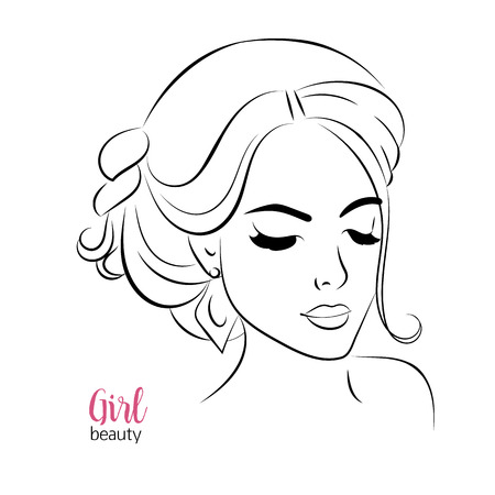 beautiful face: Vector portrait of beautiful woman, closeup of girl face with thick eyelashes and hair vector illustration. Web design, advertisement, journal, poster, banner, print decoration element