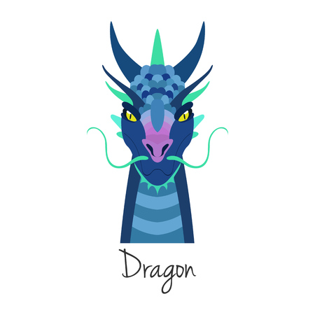 blue dragon: Vector blue dragon face isolated. Animal of Chinese zodiac symbol. flat cartoon dragon head, Chinese new year symbol, poster, banner, print, advertisement, web design element.