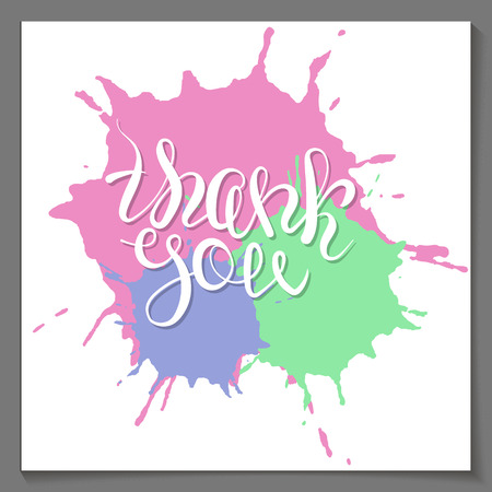 paint drop: Vector thank you lettering on mixed colored paint drop