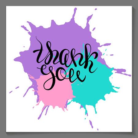 paint drop: Vector thank you lettering on purple pink paint drop