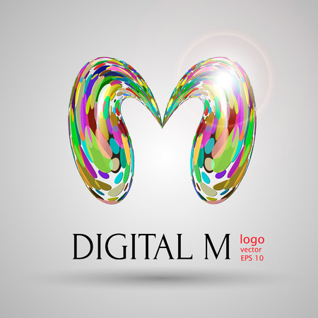 modern: vector digital modern bubble style M letter on grey background