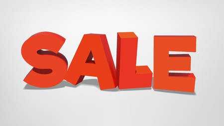 Vector sale inscription in 3d realistic style Illustration