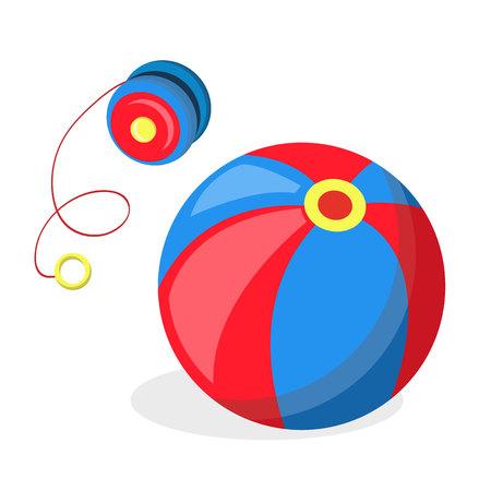 vector flat yo-yo and ball baby toys