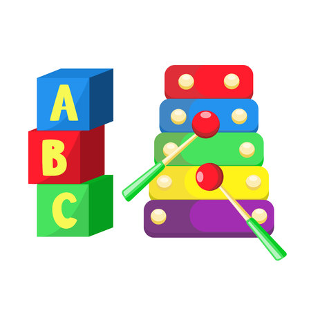 Flat xylophone and cubic toys vector