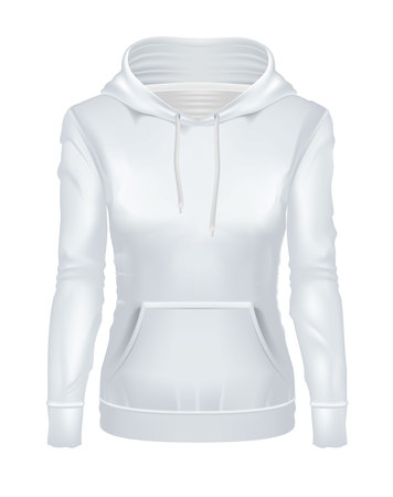 Realistic white girl hoodie vector