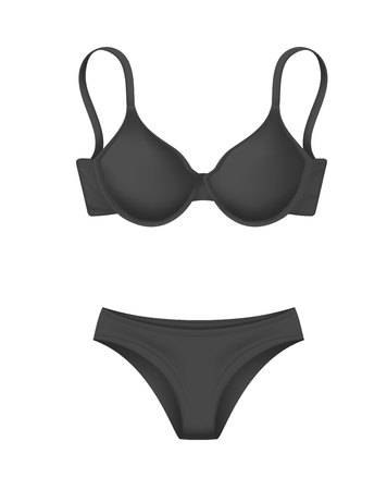 Realistic black bra panties vector