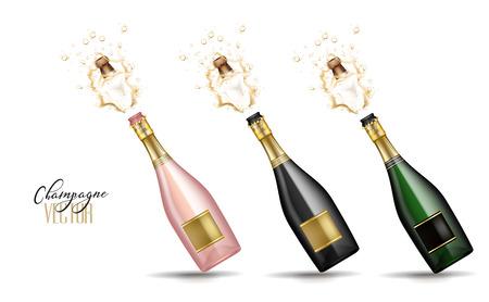Realistic champagne explosion Stock Illustratie