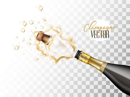Realistic champagne explosion Vectores