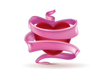 Realistic heart shape air balloon wrapped in ribbon Ilustração