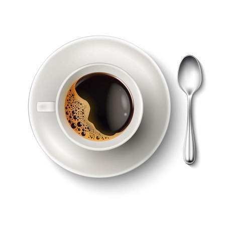 Vector realistic cup coffee saucer spoon top view Çizim