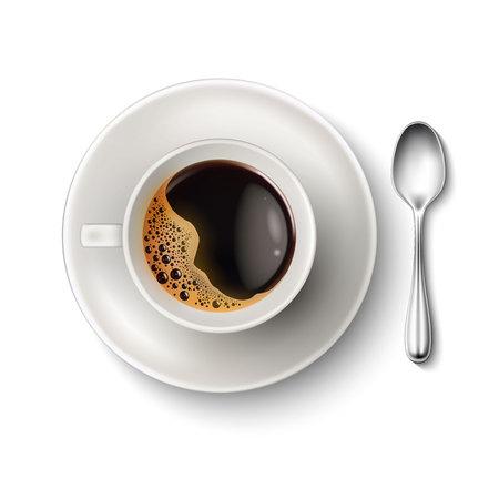 Wektor realistyczny filiżanka spodek do kawy łyżka widok z góry