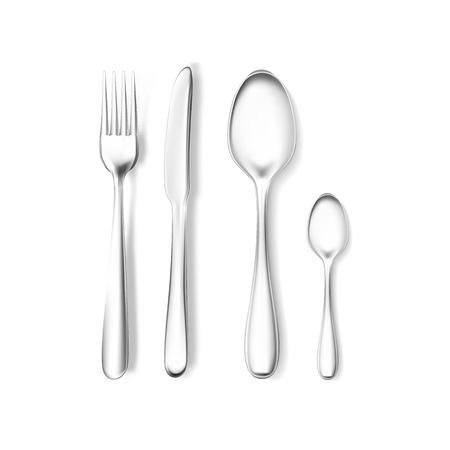 Realistic fork, knife and spoons mock-up. Stainless steel, silver kitchenware, flatware.