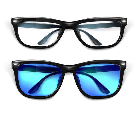 Vector realistic eyeglasses, sunglasses mockup