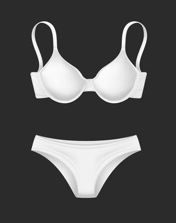 vector realistic white bra panties template mockup Illustration