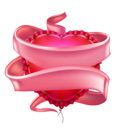 Vector realistic heart shape air balloon with ribbon.