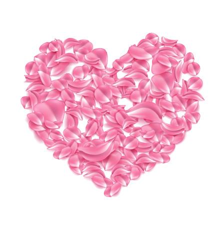 Vector rose sakura petal in heart shape.