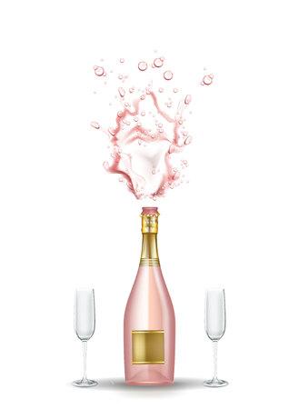 Vector realistische roze champagne explosie met glazen.