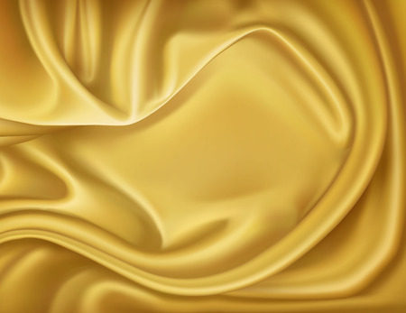 A Vector luxury realistic golden silk, satin textile